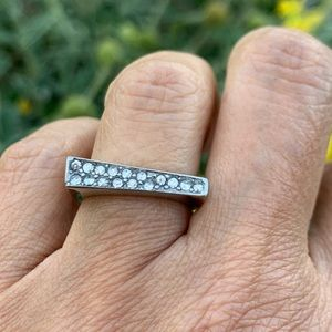 Unique Stainless steel CZ Engagement Ring size 6
